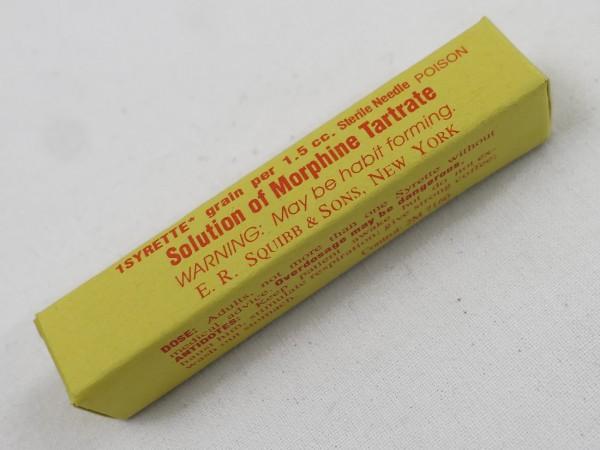 WW2 US Solution of Morphine Tartrate / Sanitäter Morphium Verpackung