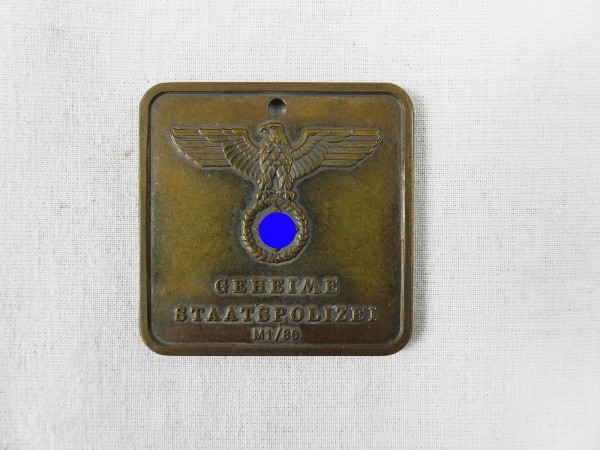 Dienstmarke Gestapo M1/86 Geheime Staatspolizei 589 Zentral Inspektion