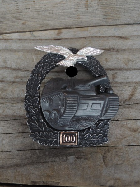 """Panzerkampfabzeichen """"bronze"""" mit Einsatzzahl 100 Luftwaffe"""