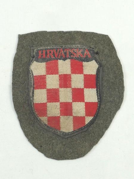Ärmelschild Ärmelabzeichen Freiwilligen Elite Kroatien HRVATSKA auf original Stoff WSS