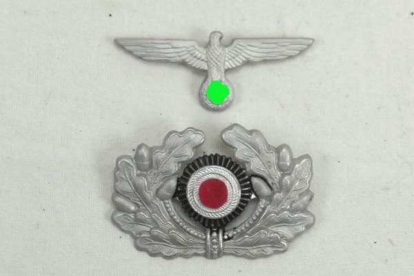 Mützenabzeichen Alu für Schirmmütze Offizier Adler + Eichenlaub Kokarde