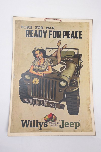 US Army WW2 Vintage Poster PlakatWillys Jeep - Born For War Ready For Peace