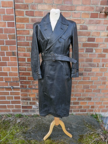Vintage Wehrmacht Offiziers Mantel Polizei Gestapo Ledermantel Gr.52