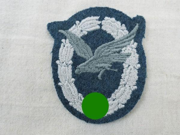 Luftwaffe Fliegerschützen Abzeichen ohne Blitzbündel gestickt