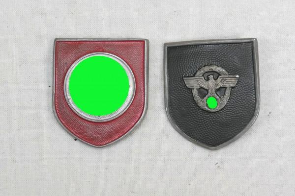 Wehrmacht 2x Helmabzeichen Tropenhelm Polizei