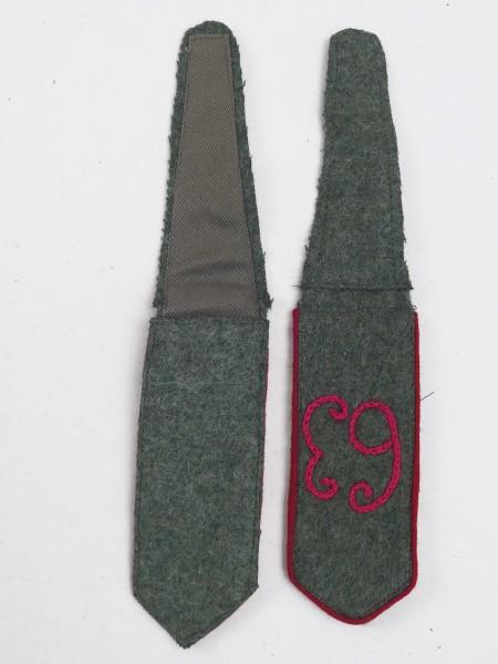 1x Paar Schulterklappen WK1 Regiment 63 gestickt 1. Weltkrieg