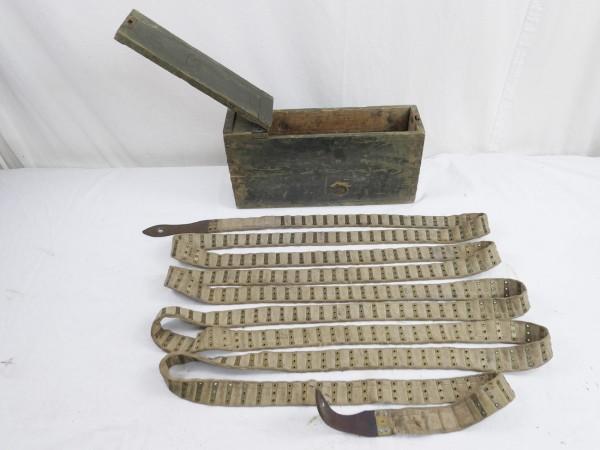 Schwarzlose Munitions Holzkiste mit Munitionsgurt Stoffgurt für 250 Schuß Reichswehr 1925