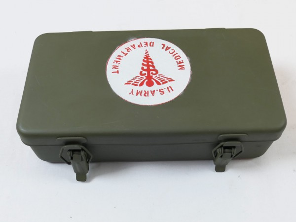 US Army First Aid Kit Box Emergency Verbandkasten leer Willys Jeep MB Ford GPW