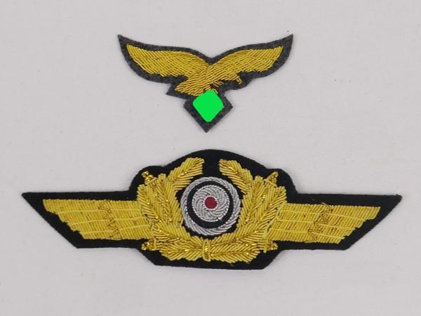 Luftwaffen Mützenadler + Mützenkranz mit Kokarde für Schirmmütze General LW