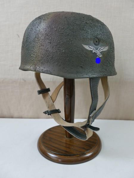 Fallschirmjägerhelm Rauhtarn Normandie camouflage Stahlhelm M38 Luftwaffe SD / Kopfgröße Gr. 57/58