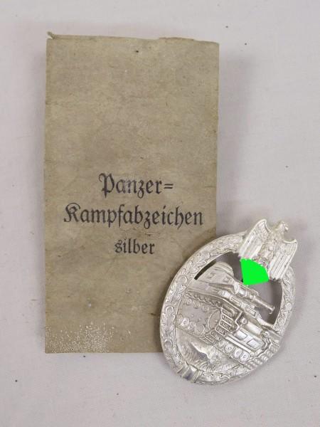 Wehrmacht Panzerkampfabzeichen Stufe Silber / versilbert mit Verleihungstüte