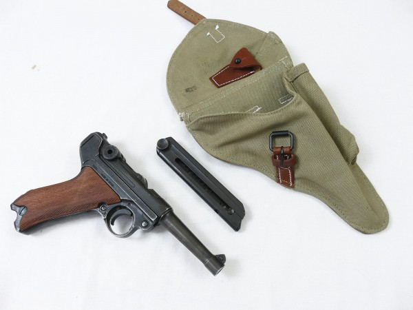 DAK SET Pistole P08 antik Deko Modell Filmwaffe Mauser Luger Denix mit Tropen Holster und Schlüssel