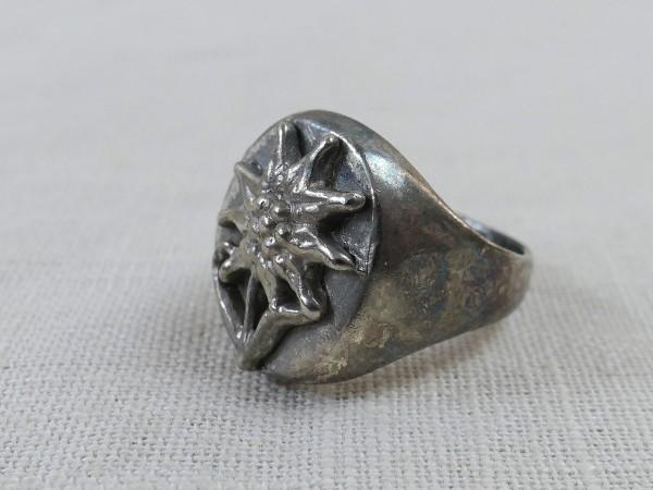 Gebirgsjäger Traditionsring Ring mit Edelweiss