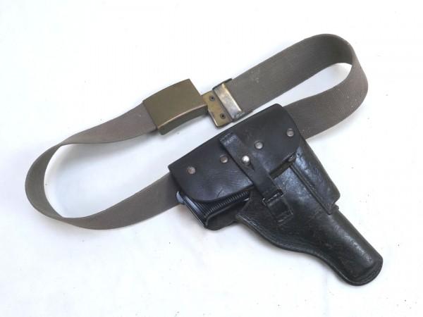 Pistole P38 antik Deko Modell Filmwaffe mit Holster und Koppel 95cm