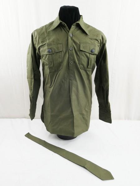 Feldhemd Tropenhemd langarm Hemd DAK Deutsches Afrika Korps mit Binder grün