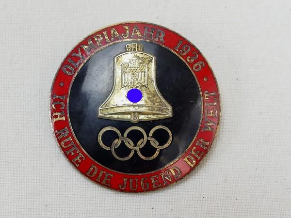 """Olympiade Abzeichen Veranstaltungsabzeichen Olympia 1936 """"Ich rufe die Jugend der Welt"""""""