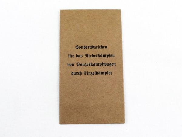 Verleihungstüte Sonderabzeichen für das Niederkämpfen von Panzerkampfwagen durch Einzelkämpfer (418)