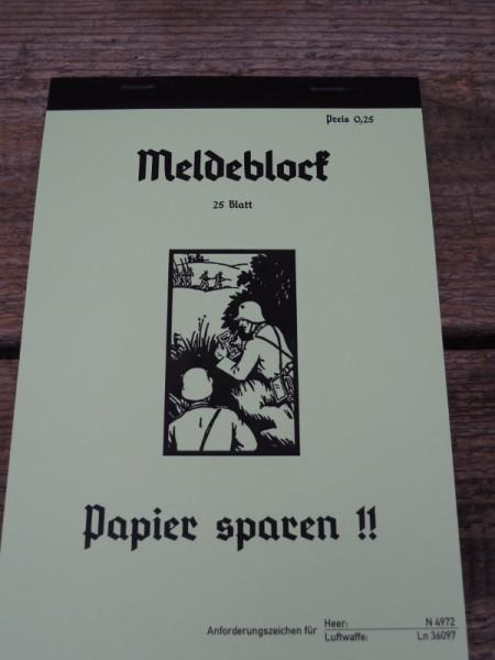 Meldeblock Wehrmacht Elite