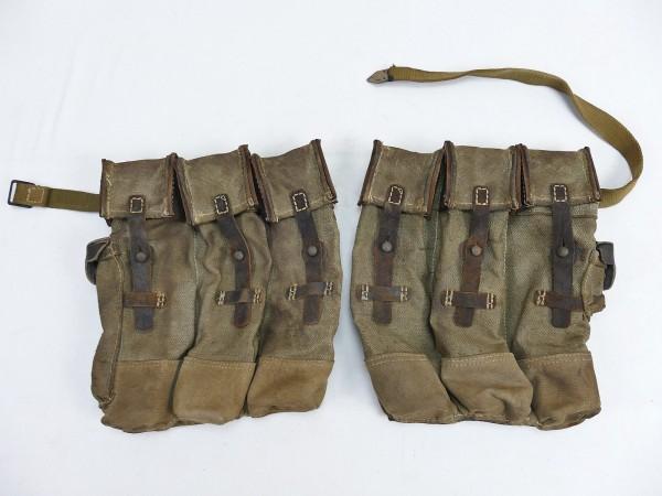 #18 Vintage Wehrmacht 2x Magazintasche Paar Sturmgewehr 44 STGW44 MP44 MKB gealtert ANTIK