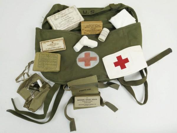 US ARMY First Aid Pack Field Cargo Sanitäter Tasche mit Inhalt Rot Kreuz Red Cross Willys Jeep