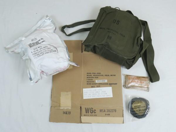 Original US Vietnam Gasmaske M17A1 mit Tasche + Karton Mask Protective Field M17
