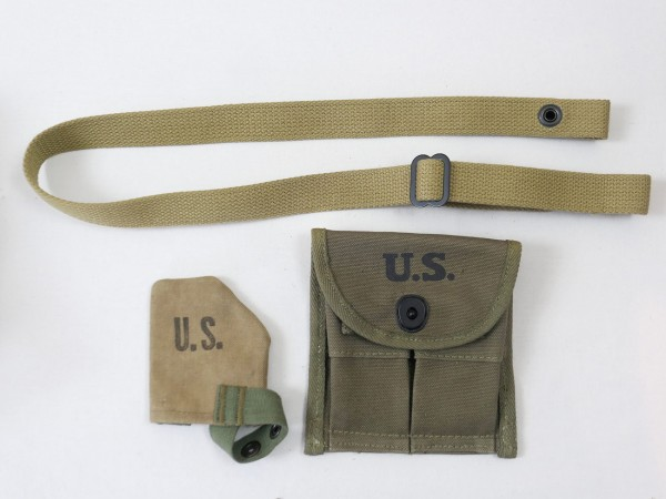 US ARMY Carbine M1 Set - Magazintasche Ammo Pouch / Trageriemen Sling / Mündungsschutz Muzzle Cover