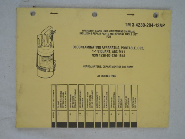 US Army TM 3-4230-204-12&P Decontaminating Apparatus, Portable, DS2, 1-1/2 Quart, ABC-M11 NSN 4230-0
