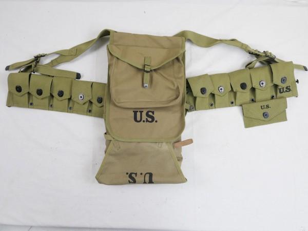 US Sturmgepäck M-1928 Haversack + Garand M1 Ammo Belt Munitionsgurt + first aid pouch