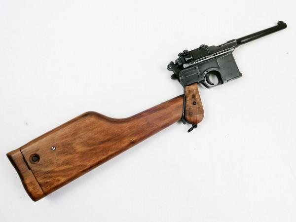 Denix Mauser C96 mit Holzschulterstütze / orginalgetreuer Nachbau Antik finish