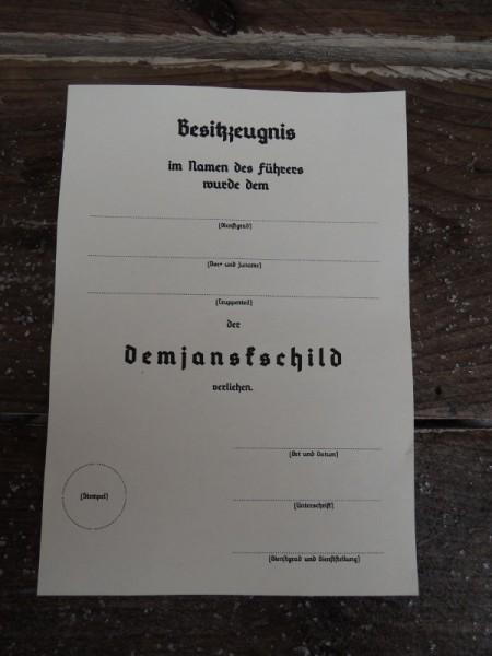 "Besitzzeugnis ""Demjanskschild"""
