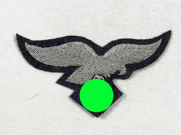 Brustadler Luftwaffe Offizier auf Wolltuch blaugrau mit Silberfaden gestickt