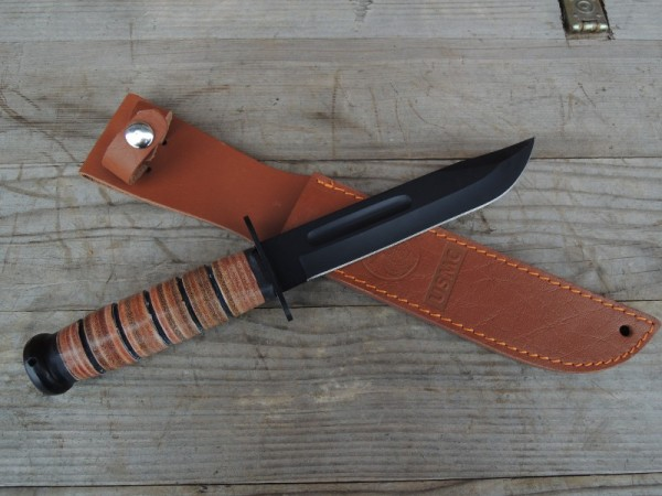 USMC K-Bar Fighting Knife mit Lederscheide