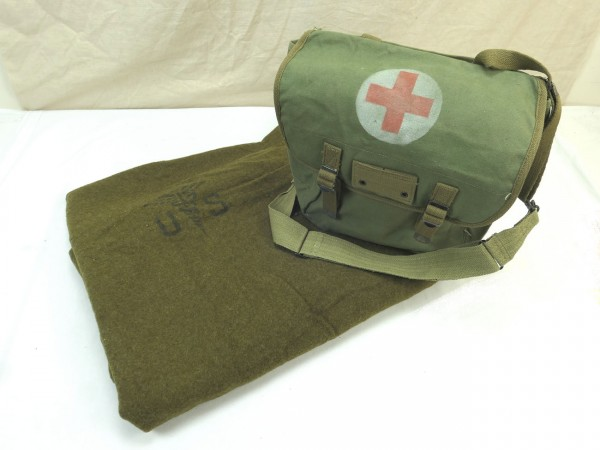 US Army Wool virgin Blanket Aesculab Sani Decke + Typ US WW2 Sanitäter Musette Bag