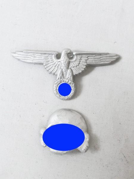 Waffen Elite WSS Satz Aluminium Effekten Schirmmütze Mützenadler + RZM Totenkopf
