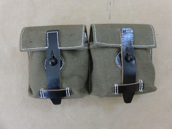 Wehrmacht G43 / K43 Canvas / Leder Magazintasche Textil oliv