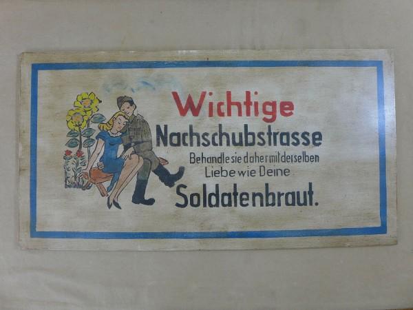 WEHRMACHT WW2 VINTAGE SIGN SCHILD HOLZSCHILD Soldatenbraut ... Nachschubstrasse