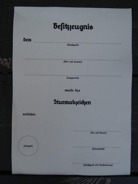 """Besitzzeugnis """"Sturmabzeichen"""""""