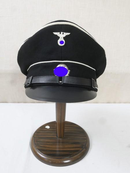 Allgemeine Elite SS Tornister Schirmmütze RZM Gr. 58 alte Art Partei getragen