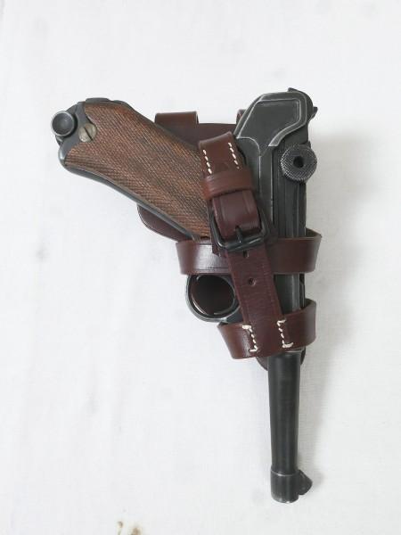 Wehrmacht Luftwaffe Fallschirmjäger Pistolentasche Holster braun für die P08 Pistole