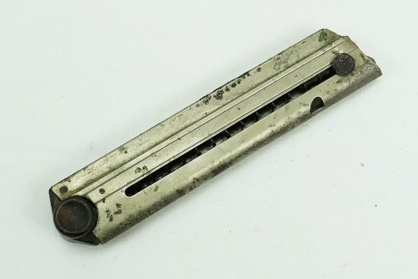 Original P08 Magazin 9mm Holzboden WK1 mit Abnahmestempel Nr. und Hersteller