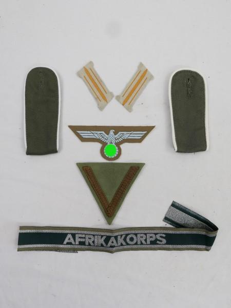 Afrika Korps Heer Abzeichen Brustadler + Gefreiten Winkel + Ärmelband + Schulterklappen + Kragenspie