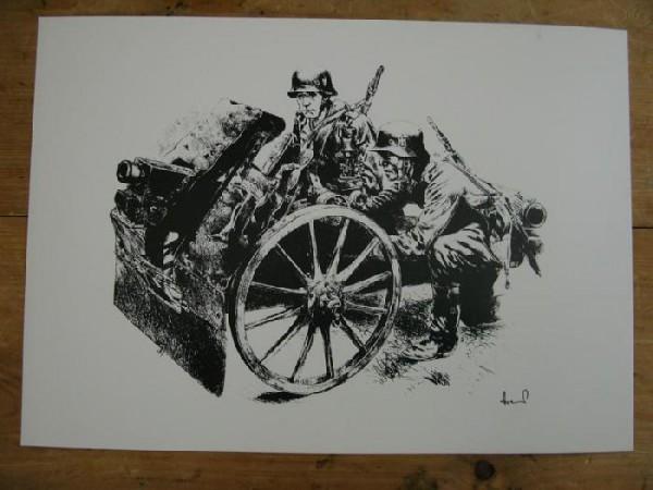 WH Kunstdruck leichte Infanterie Feldhaubitze