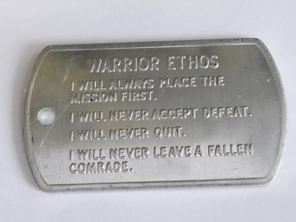 US Army Values and Warrior Ethos Tag Dogtag Marke
