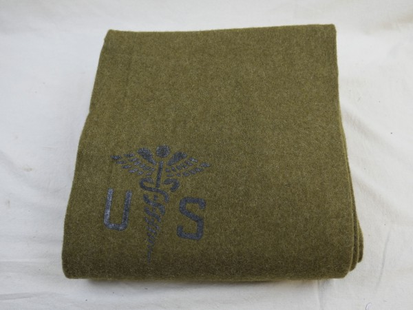 US Army Wool virgin Blanket Aesculab OD US Sani Decke Medics medical corps