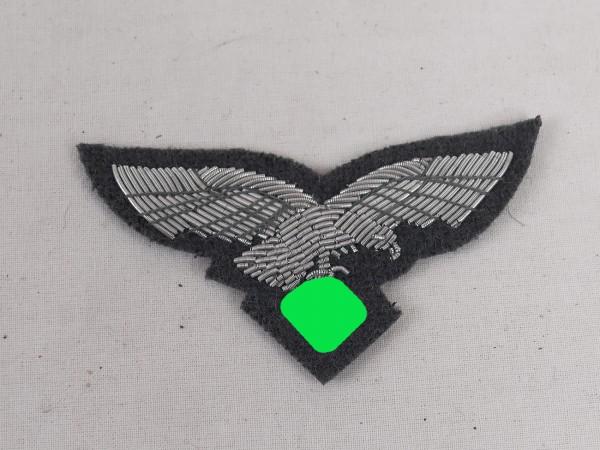 Luftwaffe Offizier Mützenadler Mützenabzeichen blaugrau gestickt f. Schirmmütze / Schiffchen