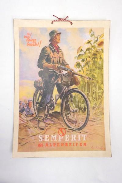 Wehrmacht Vintage Schild Plakat Karton - Semperit der Alpenreifen - Im Kriege bewährt