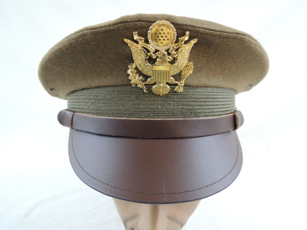 US ARMY WW2 Officer Crusher cap VISOR HAT Schirmmütze Offizier