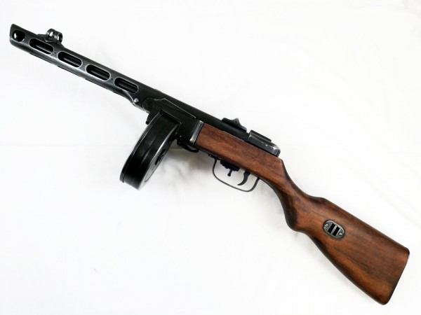 Russische PPsH 41 Maschinenpistole mit Trommelagazin / Dekomodell antik finish