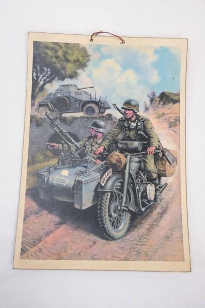 Wehrmacht Vintage Schild Plakat Karton - Soldaten im Krad mit Beiwagen