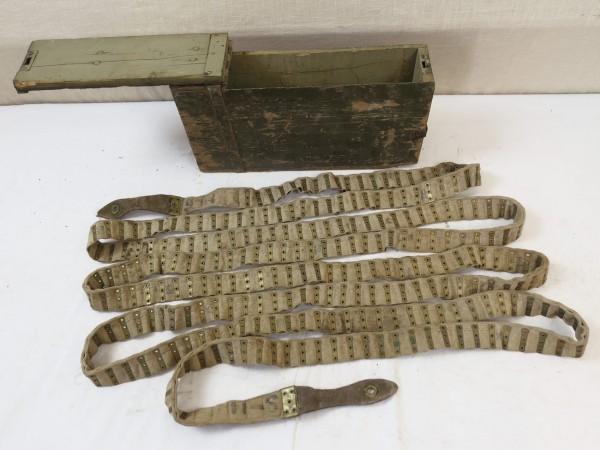 Schwarzlose Munitions Holzkiste mit Munitionsgurt Stoffgurt für 250 Schuß 1.WK